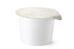 Plastic container for dairy foods with foil lid royalty free stock images
