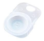 Plastic container with liquid and corrective lens Stock Photos