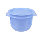 Plastic container for liquid food isolated on white Royalty Free Stock Photography