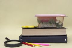 Plastic container, lunchbox with school lunch on a yellow background royalty free stock photo