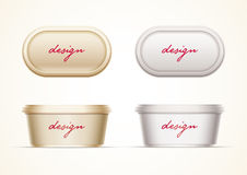 Plastic Container. Mock up for butter, margarine spread, cream cheese, cocoa hazelnut cream, or yoghurt. All elements are layered separately in vector file Stock Photos