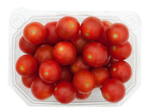Plastic container of red cherry tomatoes, isolated Stock Photos