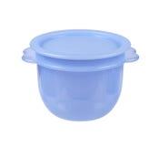 Plastic container voor vloeibaar die voedsel op wit wordt geïsoleerd Royalty-vrije Stock Fotografie