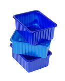 Plastic containers. Stack of three plastic containers on white isolated Stock Photography