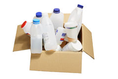 Plastic Containers. In Cardboard Box Royalty Free Stock Photo