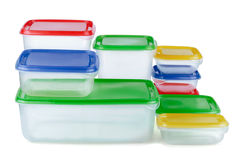 Plastic Containers. Stack of food plastic containers isolated on white