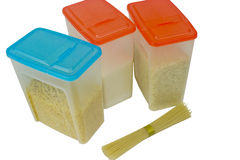 Plastic containers for bulk products Stock Photography