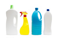Plastic containers of cleaning products Royalty Free Stock Photo