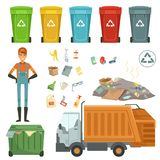 Plastic containers for different trashes. Vector illustration of garbage harvester and dustman. Color container for garbage and trash, rubbish and dustbin royalty free illustration