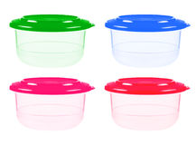 Plastic containers for food isolated on white Stock Photography