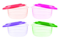 Plastic containers for food with lid ajar Stock Images