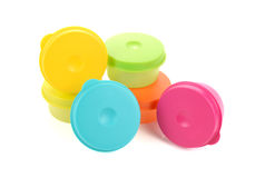 Plastic containers for food with lid ajar  on white colo Stock Photo
