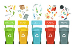 Plastic containers for garbage of different types. Vector illustrations in cartoon style. Container for garbage and waste, metal paper and glass stock illustration