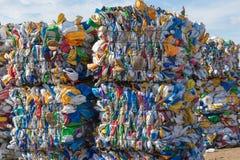 Plastic Containers Klaar voor Recycling Royalty-vrije Stock Foto's