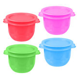 Plastic containers for liquid food isolated on white. collage Royalty Free Stock Photo