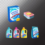 Set of templates realistic package for bottles with laundry and dishwasher detergent. Plastic containers, package and tablets. Vec. Plastic containers, package royalty free illustration