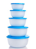 Plastic containers on white background Stock Images