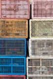 Plastic containerstapel Royalty-vrije Stock Foto's