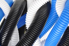 Plastic corrugated pipes Royalty Free Stock Images