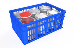 Plastic crate  with a can of paint. Plastic crates  with a can of paint isolated on white background Royalty Free Stock Photos