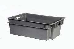 Plastic crate grey a Stock Photography