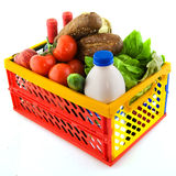 Plastic crate for shopping Stock Images