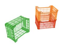 Plastic crates. Three plastic crates isolated on white background. 3D image Stock Photos
