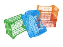Plastic crates. Four plastic crates isolated on white background. 3D image Royalty Free Stock Photo