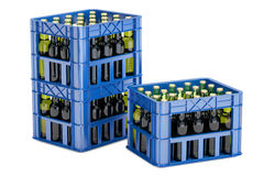 Plastic crates with beer bottles, 3D rendering. On white background Royalty Free Stock Image