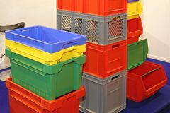 Plastic Crates and Boxes stock images
