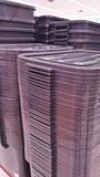 Plastic crates boxes. Plastic boxes stacked together in the market stock photography