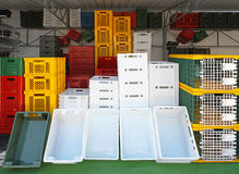 Plastic crates Stock Images