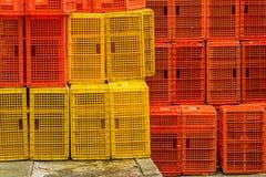 Plastic crates Stock Photos
