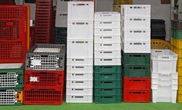 Plastic crates Royalty Free Stock Photos
