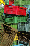 Plastic crates colors Royalty Free Stock Photography