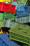 Plastic crates colors 3 Royalty Free Stock Photos