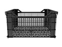 Plastic crates. Isolated on white background. 3D image Stock Photo
