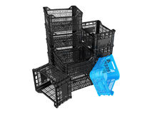 Plastic crates Stock Photos