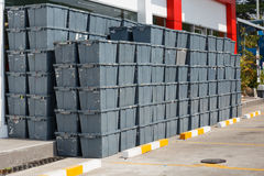 Plastic Crates Stacked Packing Containers. Stock Images