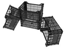 Plastic crates. On white background. 3D image Royalty Free Stock Photography