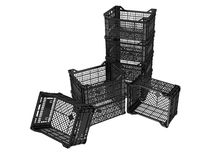 Plastic crates. On white background. 3D image Royalty Free Stock Photos