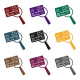 Plastic credit card with a magnifying glass. Detective looking for fingerprints.Detective single icon in blake style. Vector symbol stock web illustration Royalty Free Stock Image