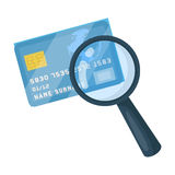 Plastic credit card with a magnifying glass. Detective looking for fingerprints.Detective single icon in cartoon style Royalty Free Stock Photography