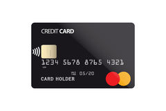 Plastic credit card with NFC chip. Vector illustration Stock Images