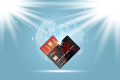 Plastic credit cards. Front side of the card with digital world map. Vector illustration EPS 10. Stock Photos