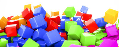 plastic cubes in various colors 3d illustration Stock Photo