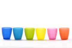 Plastic cup. S of various colours isolated on white Stock Photo