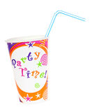Plastic cup. A colorful plastic cup with straw, spelling Party time and a small Dreamstime logo on the cup Stock Photography