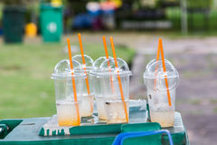 Plastic cup on bin Stock Images
