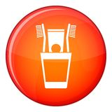 Plastic cup with brushes icon, flat style Royalty Free Stock Photos